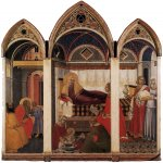 Pietro Lorenzetti (c. 1280 - 1348)  The Birth of Mary  Tempera on wood, 1342  188 x 183 cm  Museo dell'Opera del Duomo, Siena, Italy